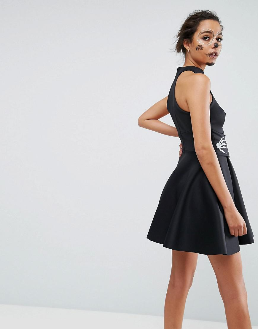 1352669a6bd ASOS Asos Halloween Skeleton Hands Corset Waist Scuba Mini Dress in Black -  Lyst