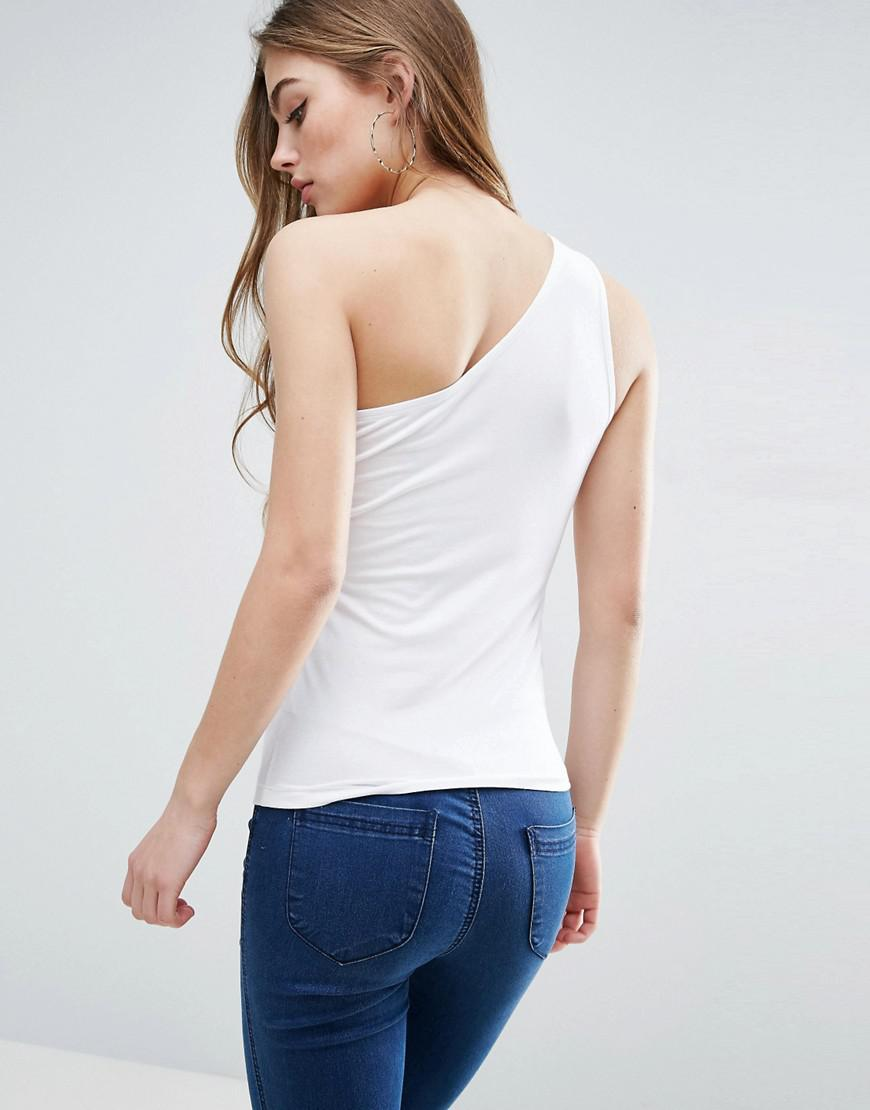 3764e22bf7b ASOS Sleeveless One Shoulder Top in White - Lyst