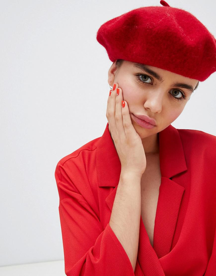 57b1487d85a57 Lyst - Monki Beret In Red in Red