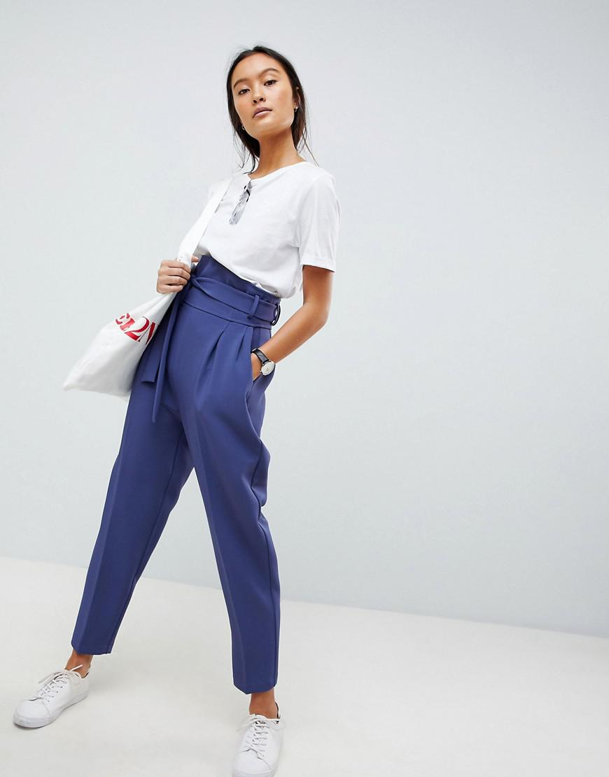 Lyst - ASOS High Waist Balloon Tapered Pants in Blue 275f18af20