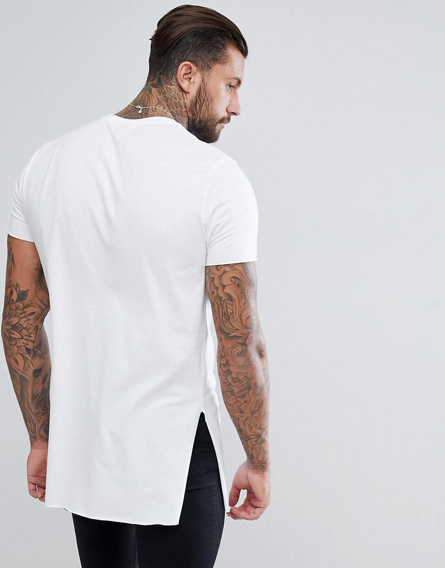 5c19530e3026 ASOS Super Longline T-shirt With Extra Long Side Splits And Raw ...