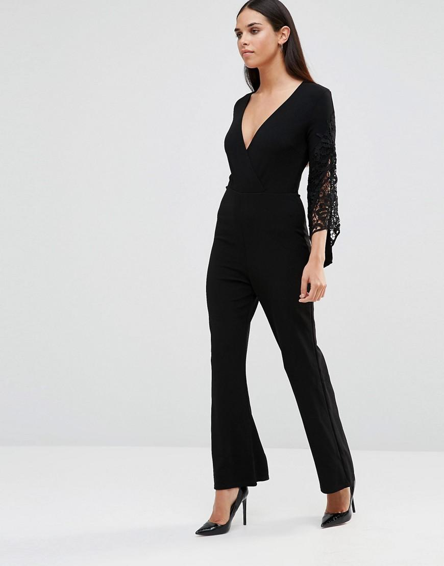 Crochet Jumpsuit : Ax paris Jumpsuit With Crochet Sleeve Detail in Black Lyst