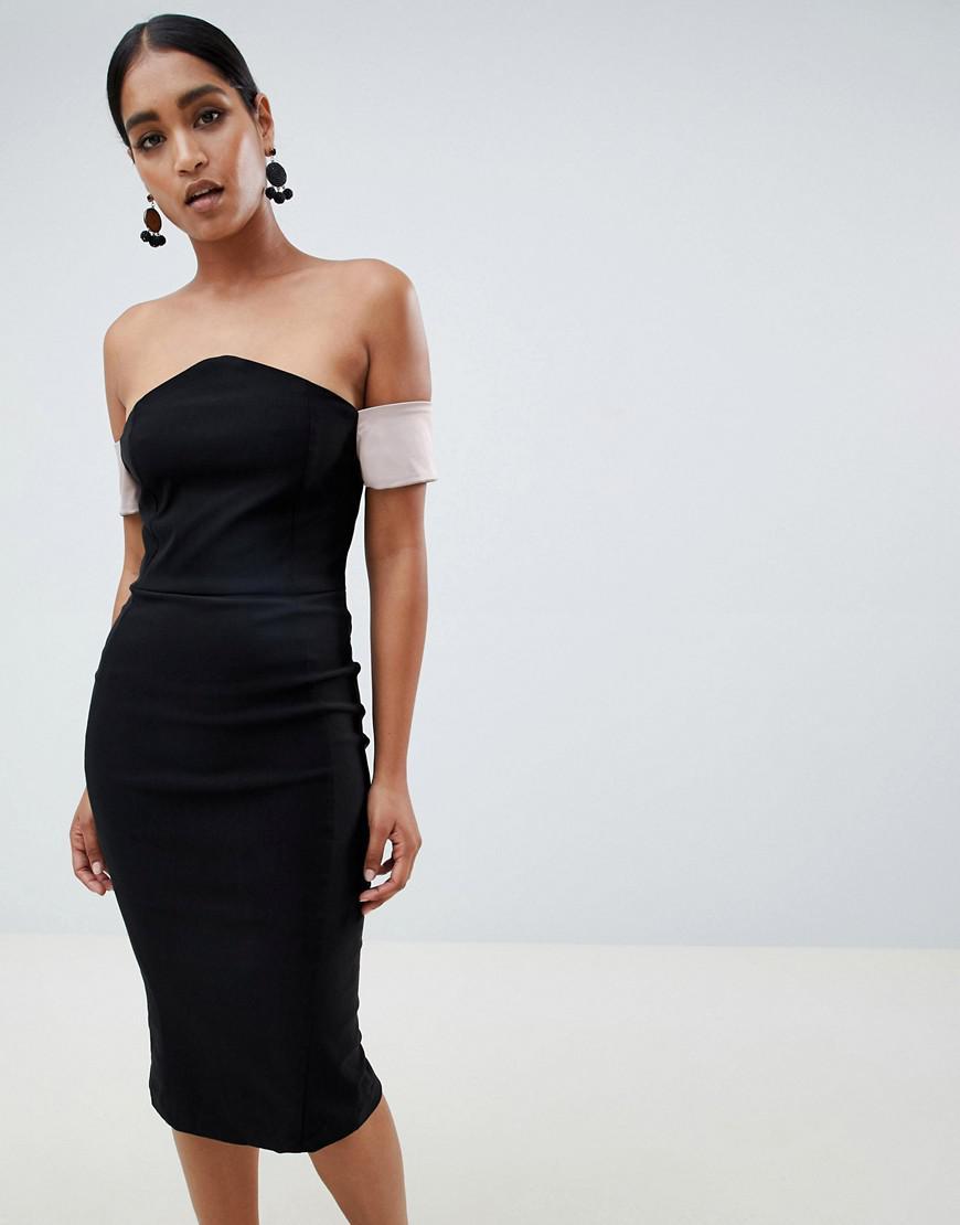 37a814345d5a Vesper - Black V Bardot Pencil Dress - Lyst. View fullscreen