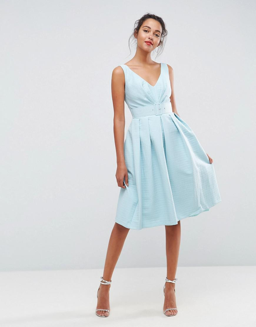 Lyst - Asos 50\'s Belted Prom Dress in White