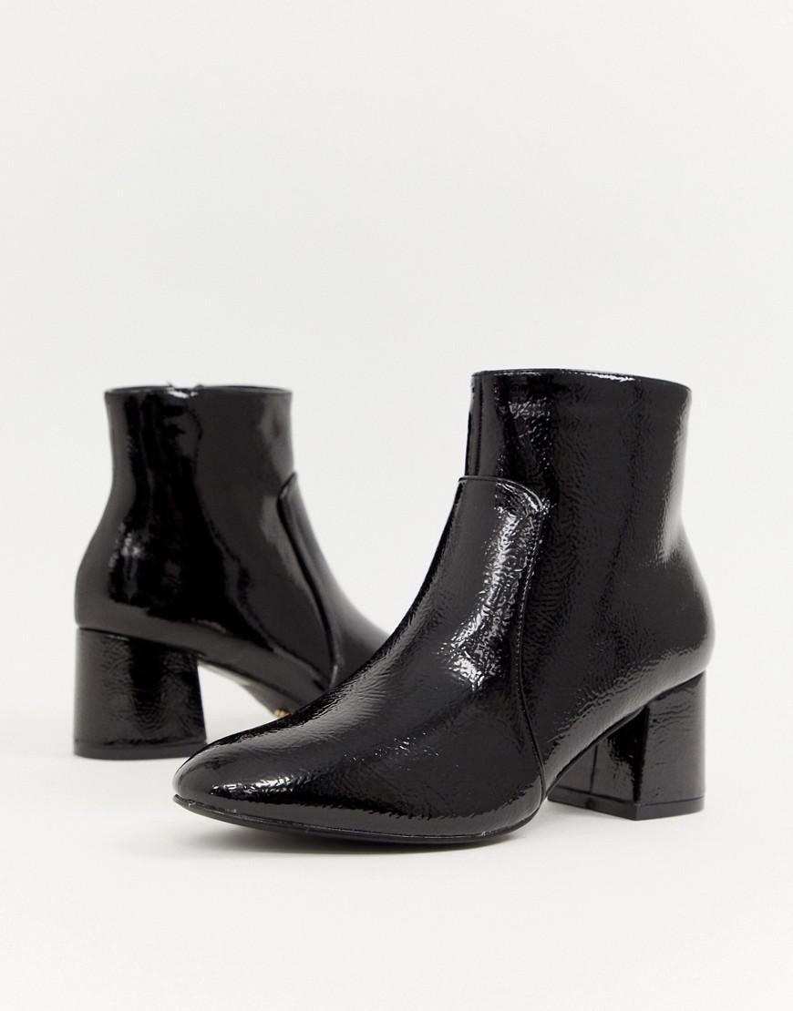 43517f1df3a7 Oasis Heeled Ankle Boots In Black Patent in Black - Lyst