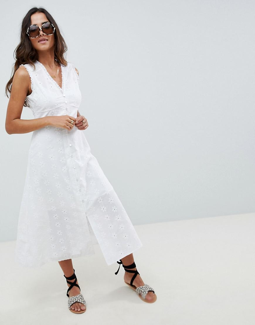 a2641a424012 ASOS Sleeveless Broderie Button Through Midaxi Midi Dress in White ...