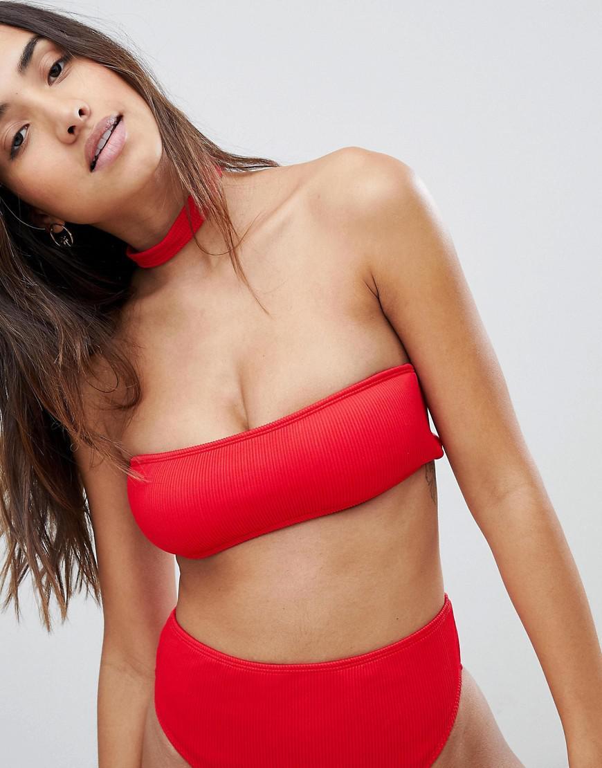 5ecbb520fe Lyst - Boohoo Mix   Match Ribbed Bandeau Bikini Top in Red