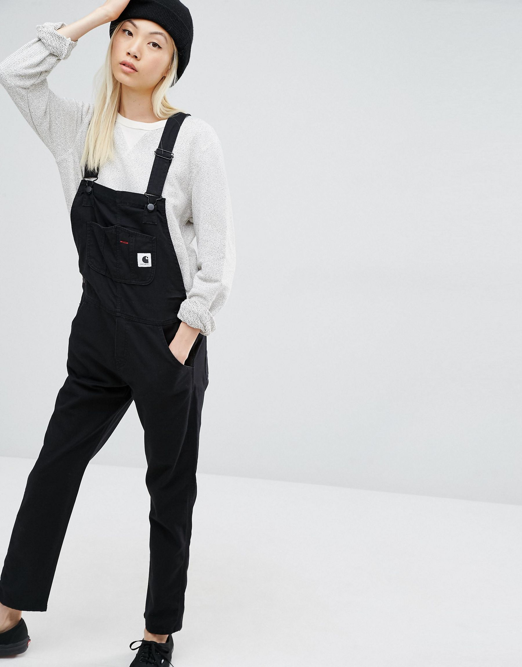 e15a20ef3c2 Lyst - Carhartt WIP Bib Overall Dungarees With Front Logo in Black