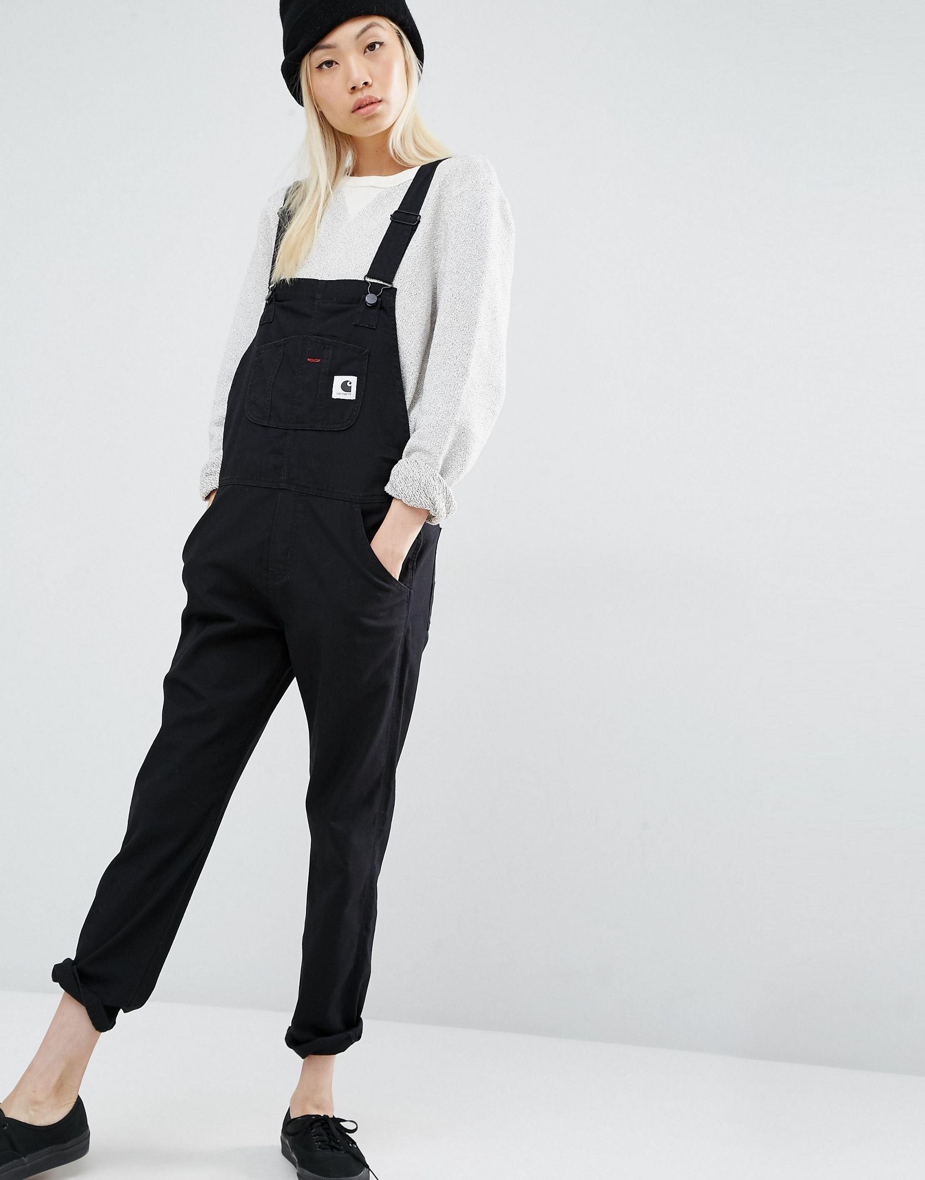aaa8ababd08ef Carhartt WIP Bib Overall Dungarees With Front Logo in Black - Lyst