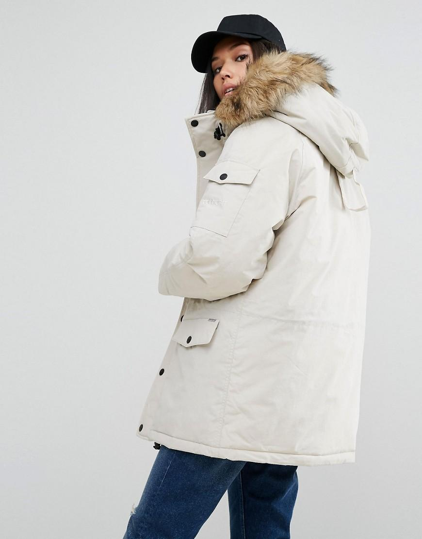 133d0a0480 Carhartt WIP - Natural Oversized Anchorage Hooded Parka Jacket With Removable  Faux Fur - Lyst