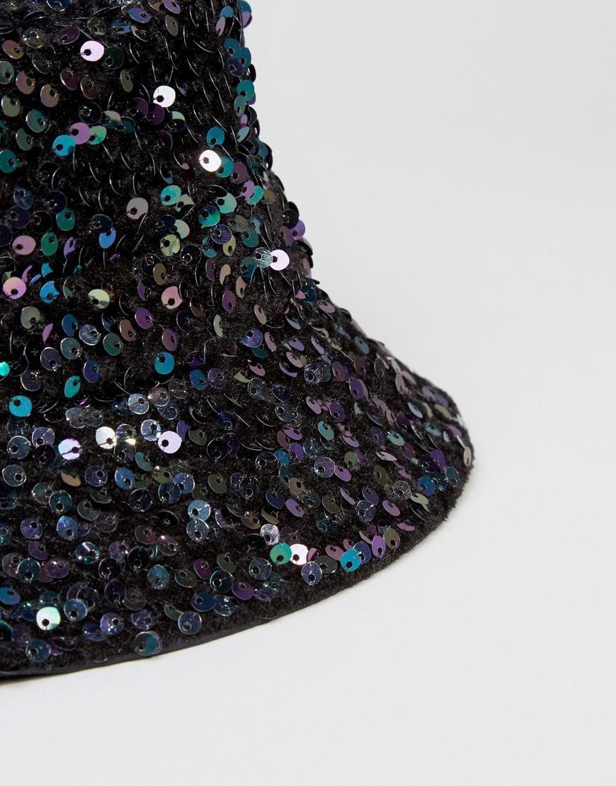 Lyst - ASOS Sequin Bucket Hat in Green 7c038ee032d