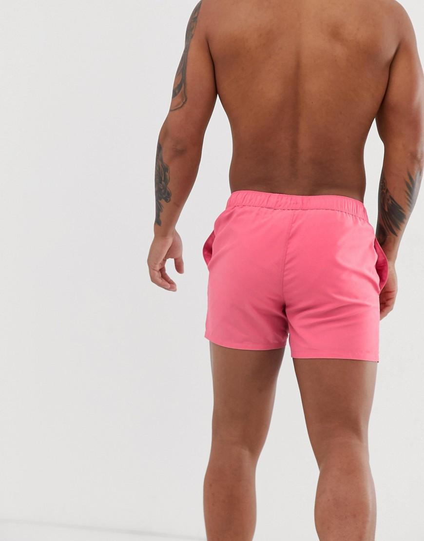 ccf36a9ede03e ASOS Swim Shorts In Washed Pink With Text Placement In Short Length in Pink  for Men - Lyst