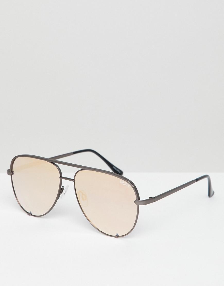 c07ef19677b Lyst - Quay X Desi High Key Mini Aviator Sunglasses In Gunmetal ...