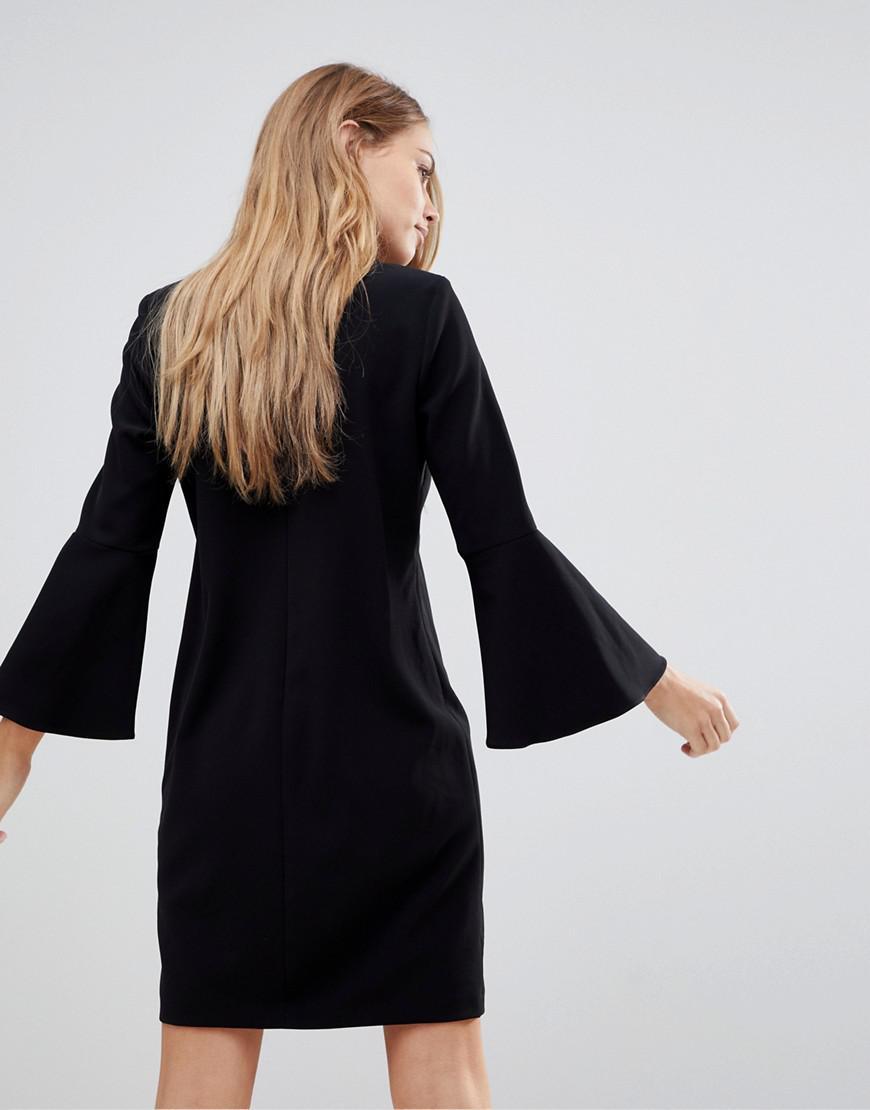 30c87c83a751 Lyst - Robe manches ballon et bordures en cuir Polo Ralph Lauren en coloris  Noir