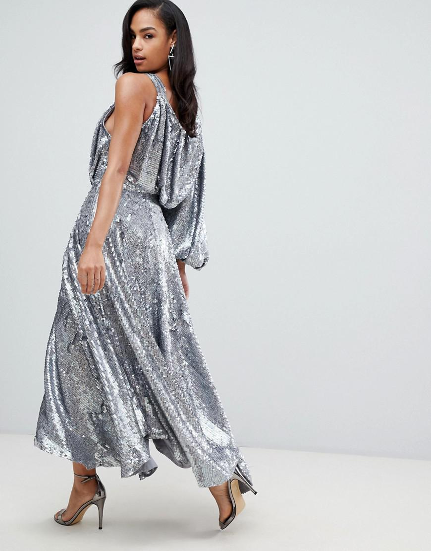 ASOS Blouson One Shoulder Midi Dress In Holographic Sequin in Metallic -  Lyst aa571f6c6