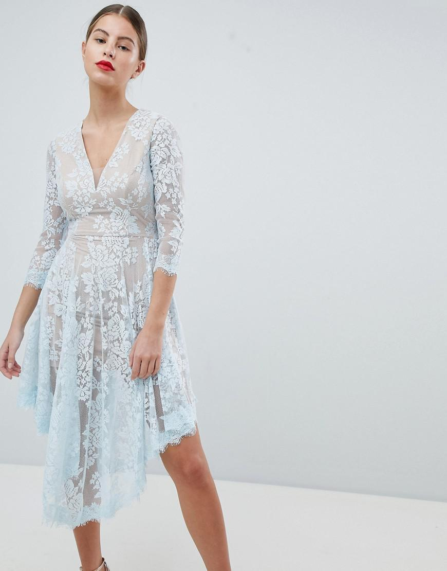 Lace Dipped Hem Dress - Blue Forever Unique rNSFI