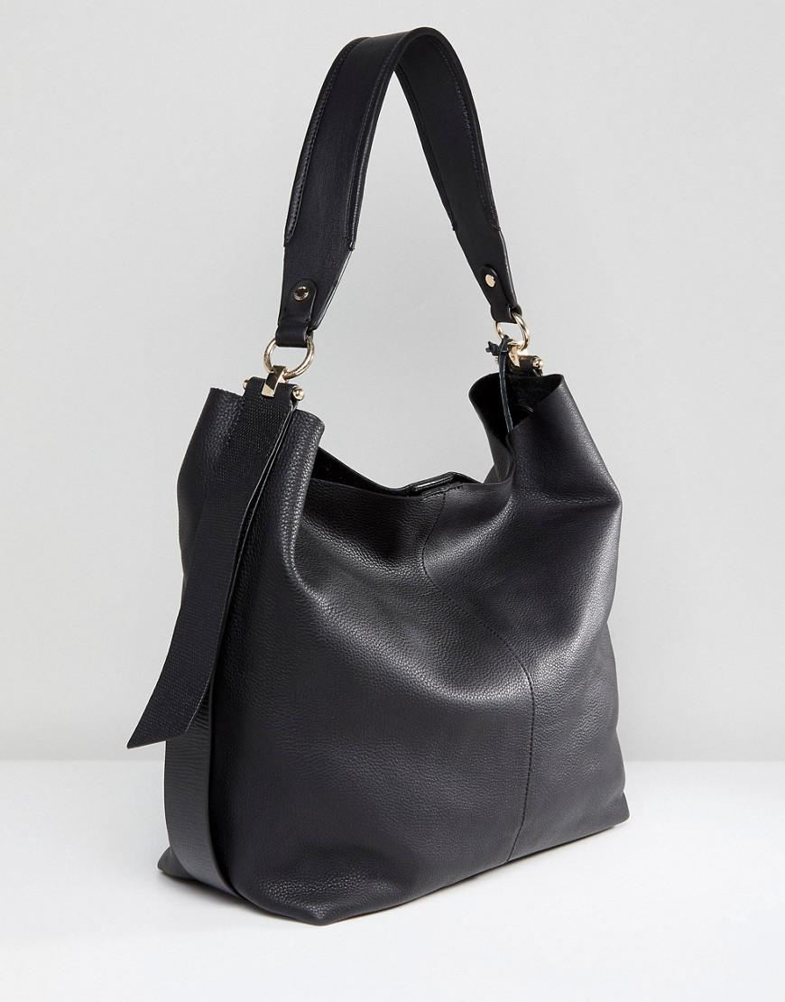 a9f5ef534931f Lyst - Paul Costelloe Real Leather Slouchy Shoulder Bag In Black in ...