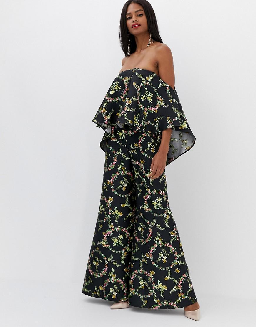 0ae11ea140 ASOS Jumpsuit With Structured Overlay In Floral Print - Lyst