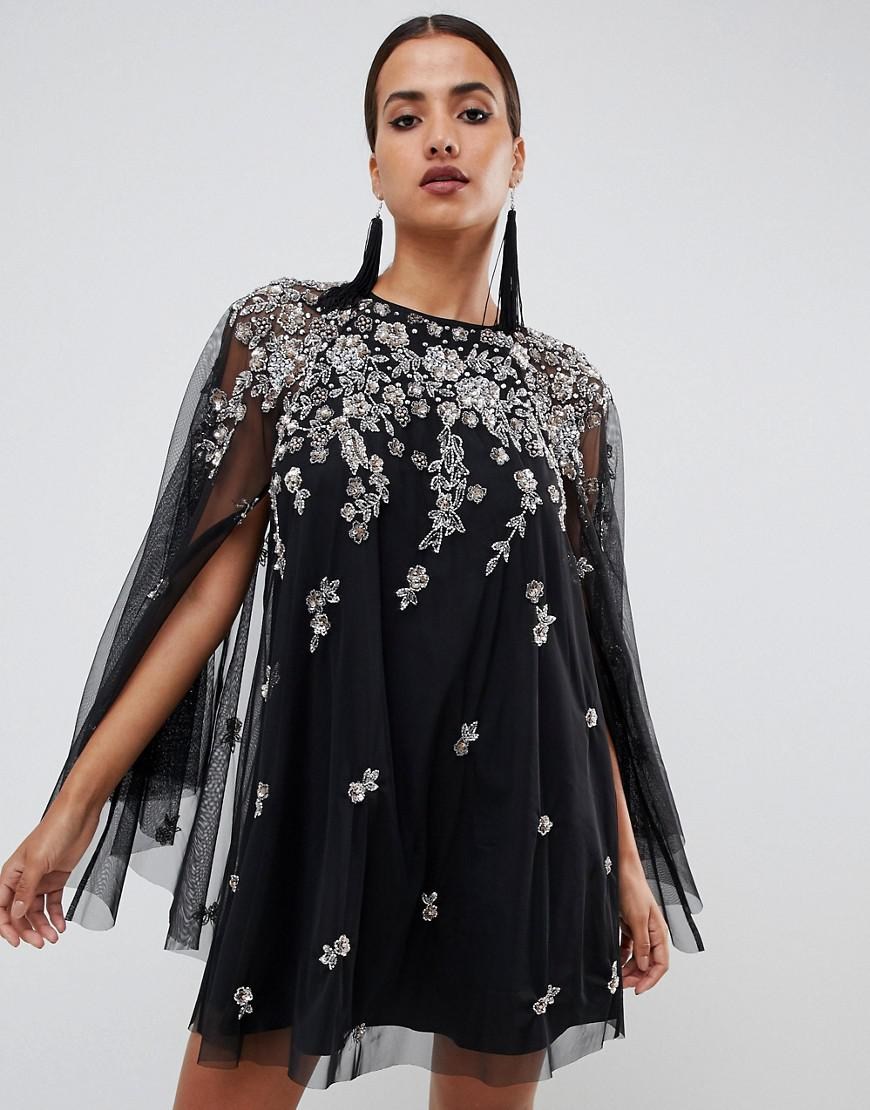 c589d140a4592 Lyst - ASOS Mini Dress With Heavily Embellished Cape in Black
