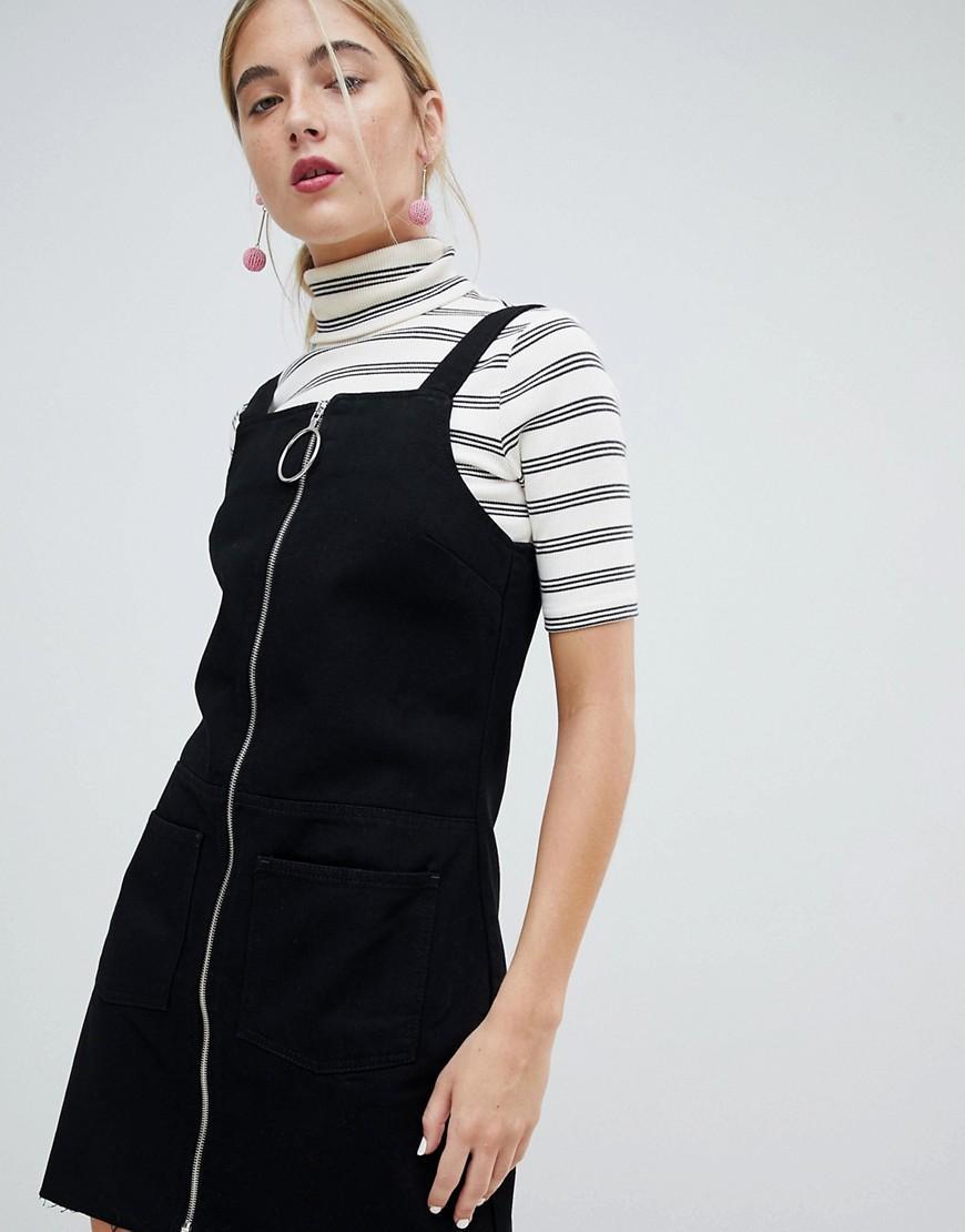 d0392c1f08 Chorus Circle Puller Zip Up Denim Jumper Dress in Black - Lyst