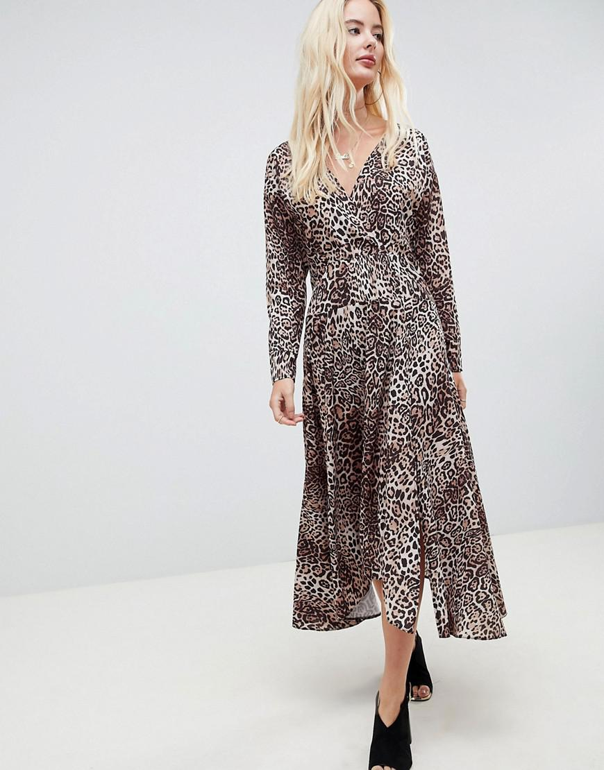 79a37b3c398 ASOS. Women s Wrap Midi Dress With Long Sleeves In Leopard Print