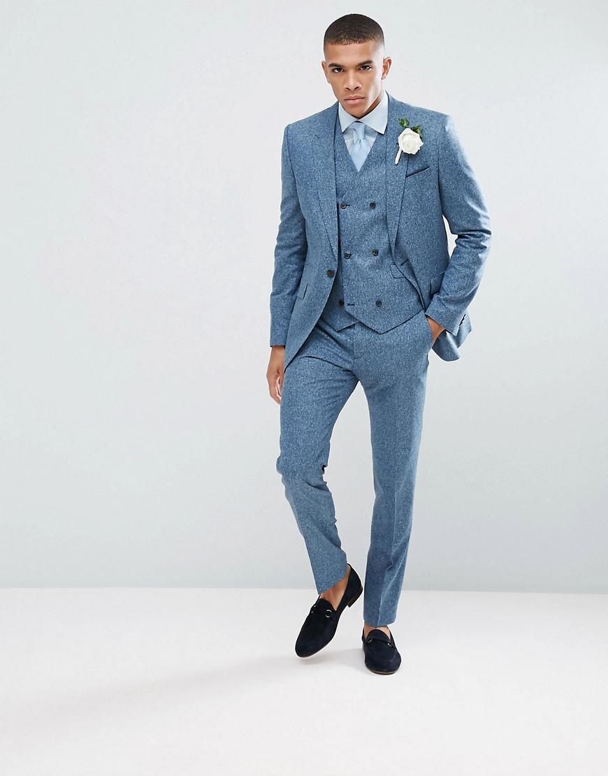 Lyst - Asos Wedding Slim Suit Jacket In 100% Silk Textured Blue in ...