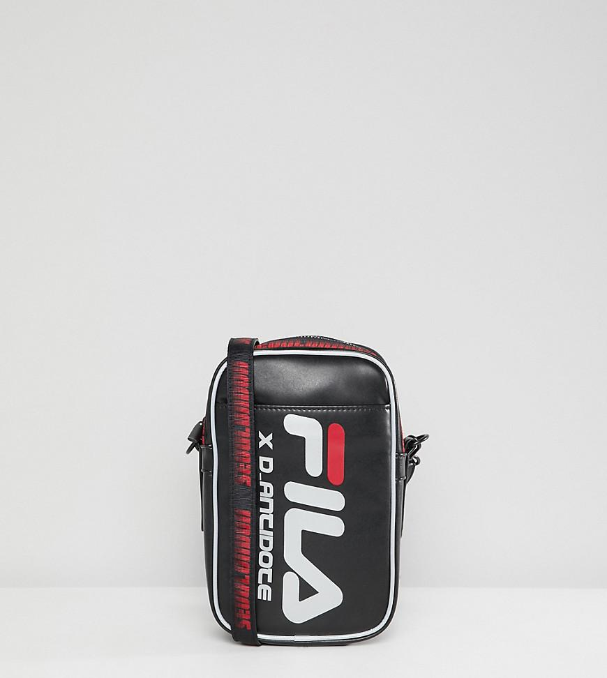 D-Antidote X Fila Cross Body Flight Bag With Large Logo in Black for ... 4a5e2523156f2