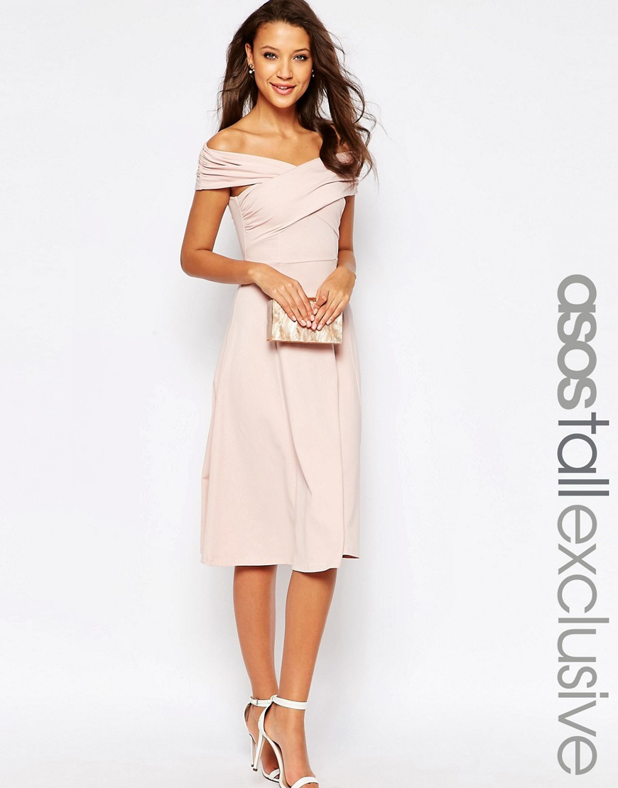 8abcaef8538de ASOS Midi Skater Dress With Bardot Neckline in Pink - Lyst