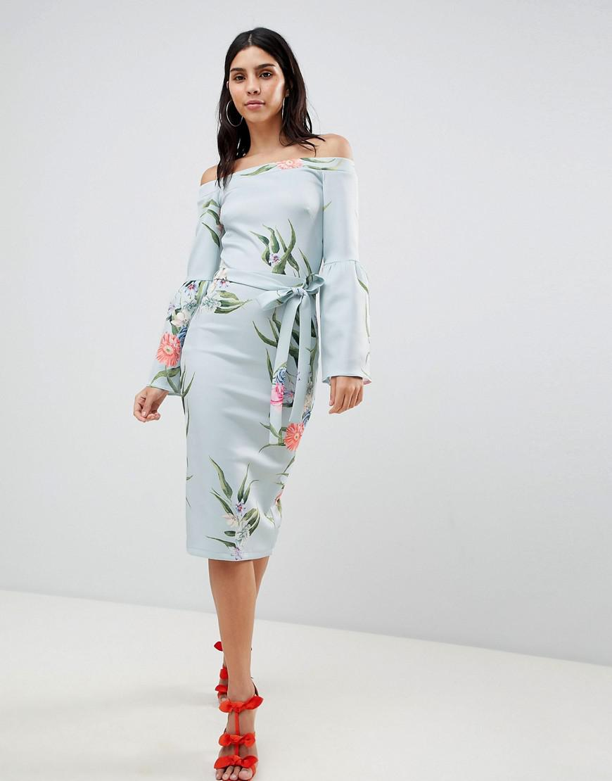 Lyst - True Violet Bardot Dress With Flare Sleeves in Blue 005daf483