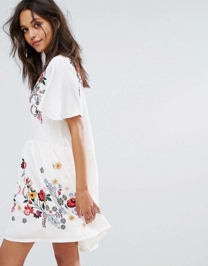 21e6b4022ff French Connection Alice Drape Embroidered Dress in White - Lyst