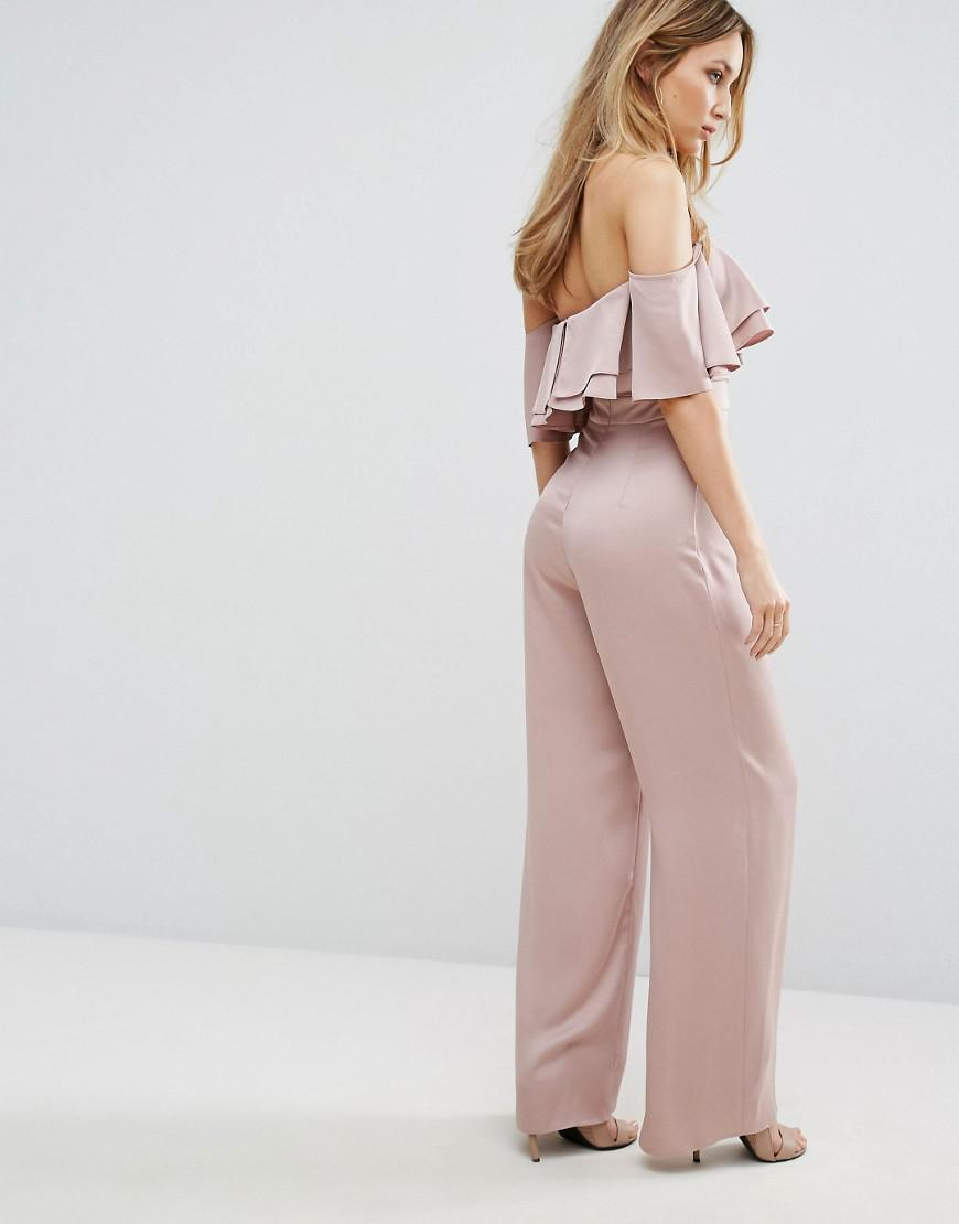 be452c627a9 Lyst - Lipsy Bandeau Jumpsuit With Ruffle Detail in Pink