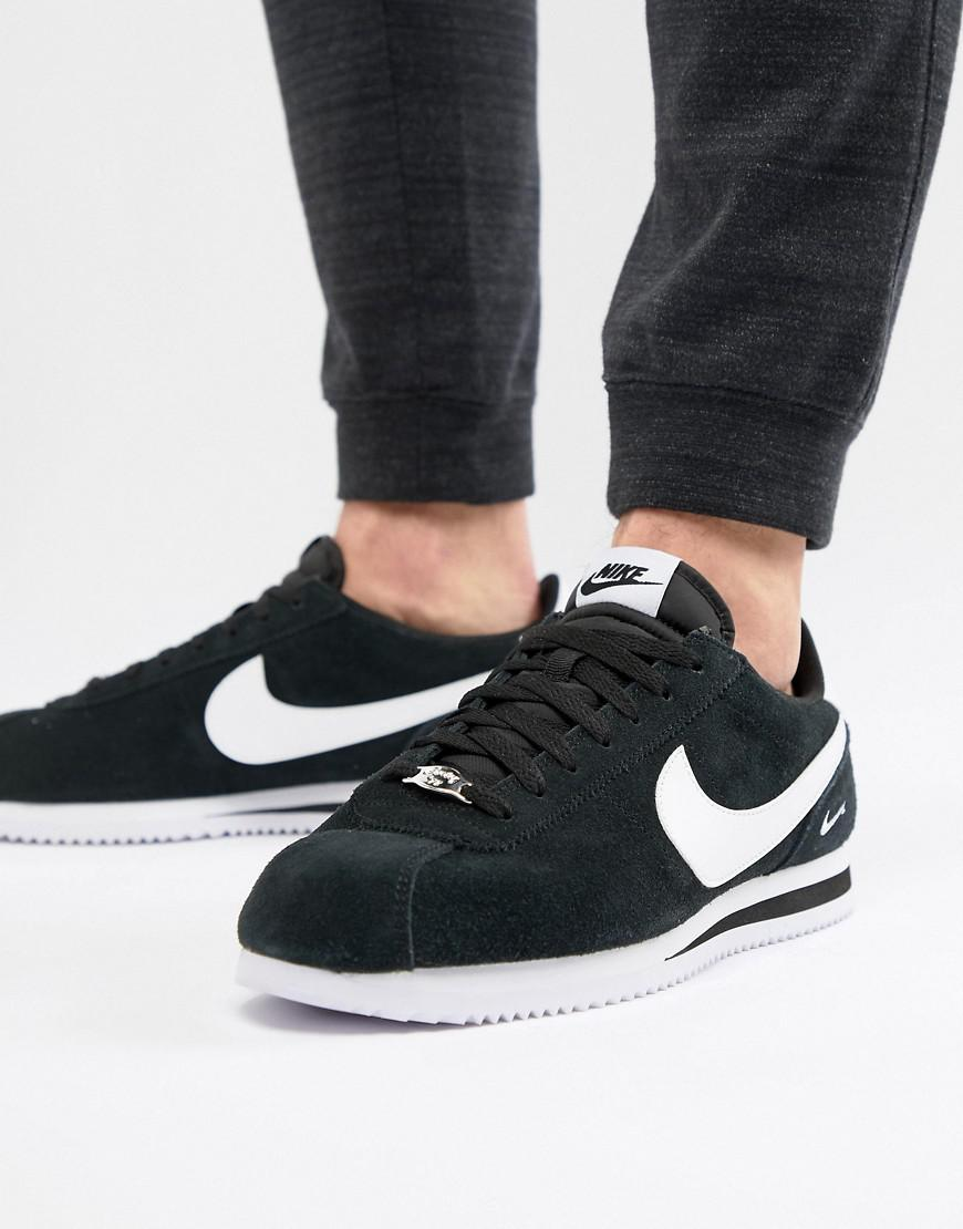 Nike Cortez Suede Trainers In Black 902803-003 in Black for Men - Lyst 4b7fe3767