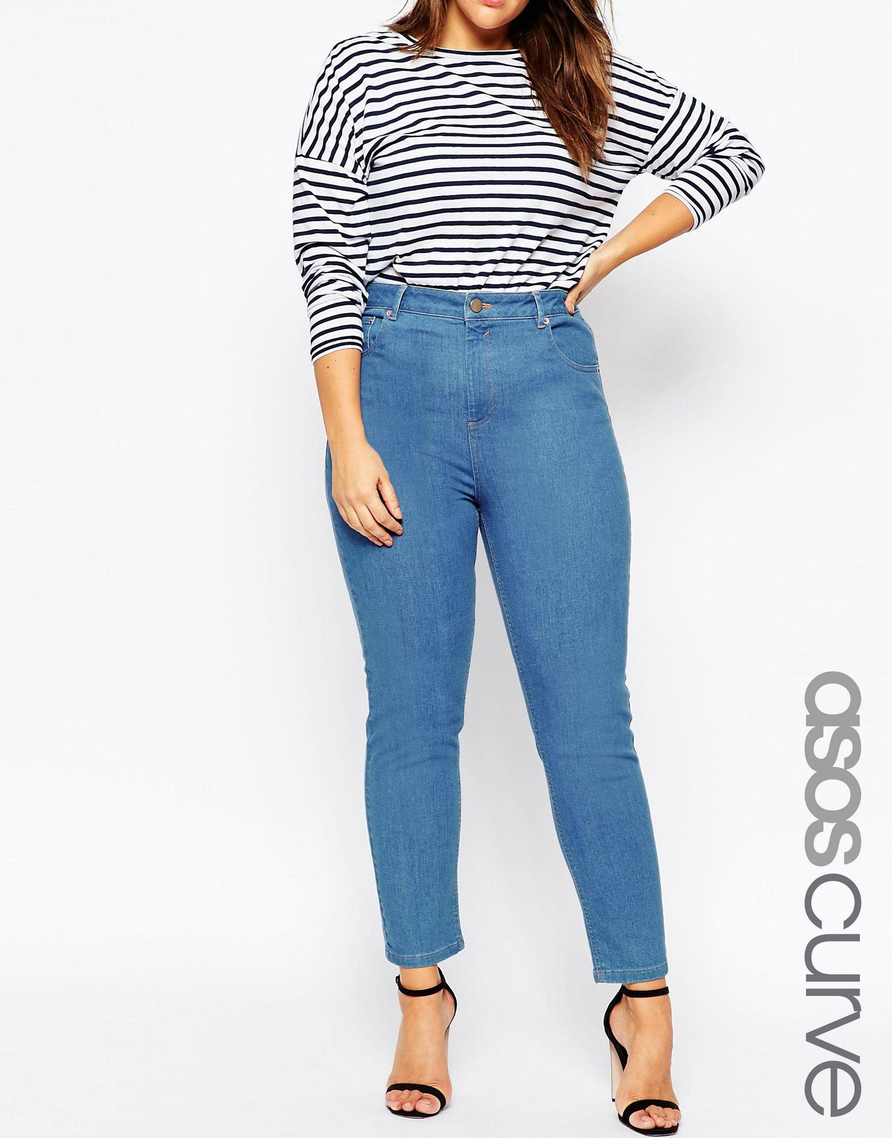 28a94ce622a Lyst - ASOS Farleigh High Waist Slim Mom Jeans In Junior 70 s Blue ...