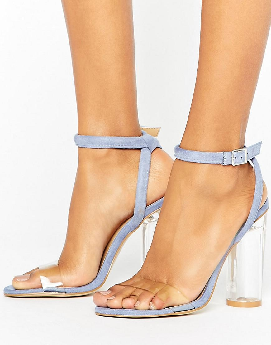 c0f95ea7879 Lyst - Truffle Collection Clear Perspex Upper Heel Sandal in Blue