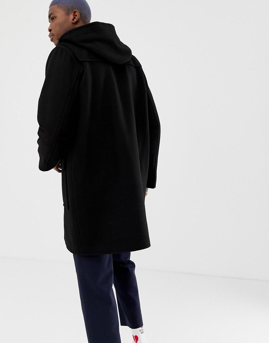 f2ca28449691 Lacoste L!ive Lacoste L!ve Hooded Duffle Coat In Black in Black for Men -  Lyst