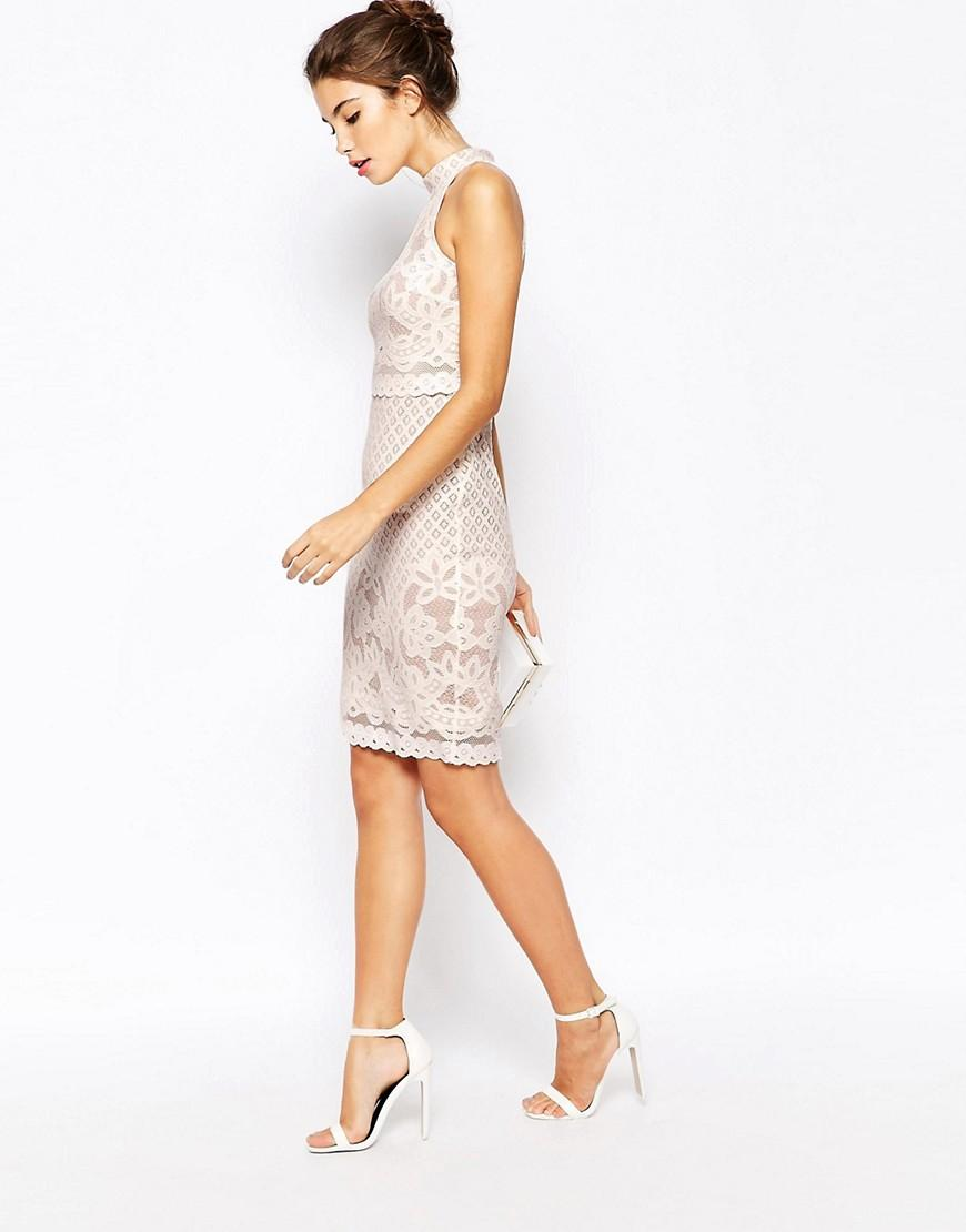 7cc256c733 Lyst - ASOS Petite Bodycon Dress In Lace With High Neck in White