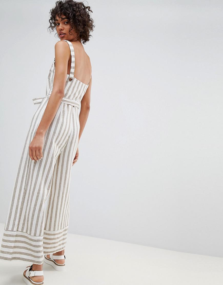d76e824f2162 Stradivarius. Women s Striped Linen Jumpsuit