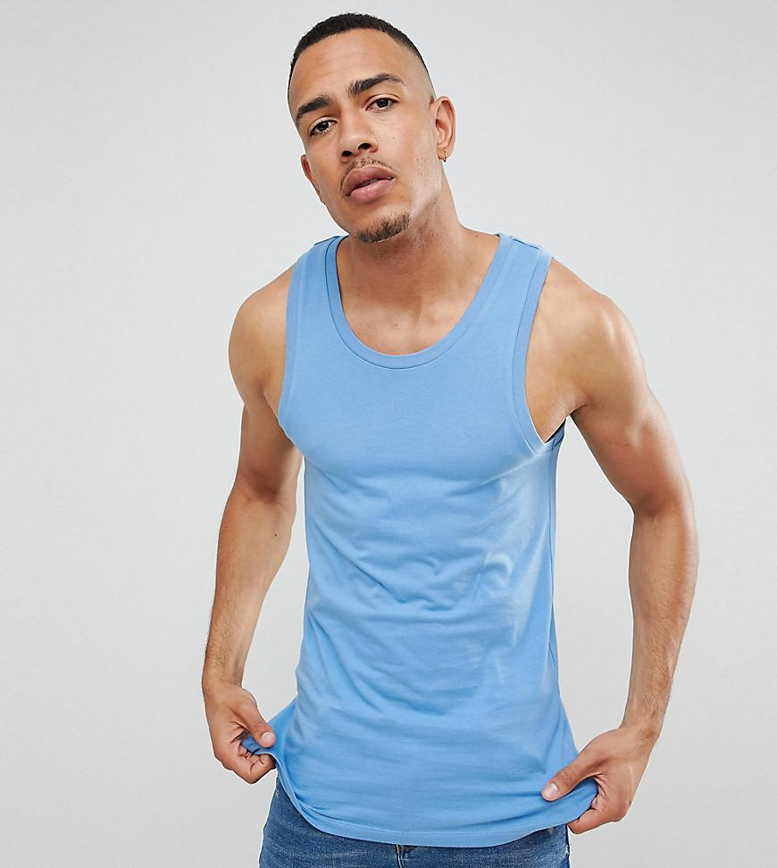 031df267280f Lyst - Asos Tall Muscle Fit Singlet In Blue in Blue for Men