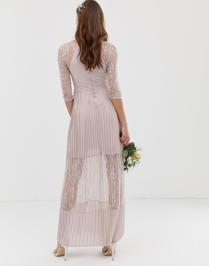 672fc8e0ad2 Lyst - TFNC London Bridesmaid Exclusive Pleated Maxi Dress With Lace Insert  In Taupe in Brown