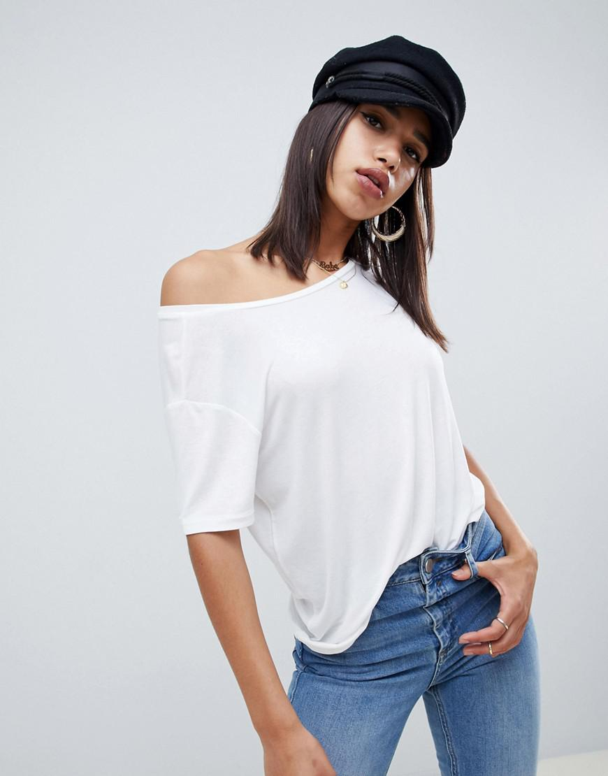 487ee19dc7757 ASOS Off Shoulder Top With Short Sleeve In Drapey Fabric In White in ...