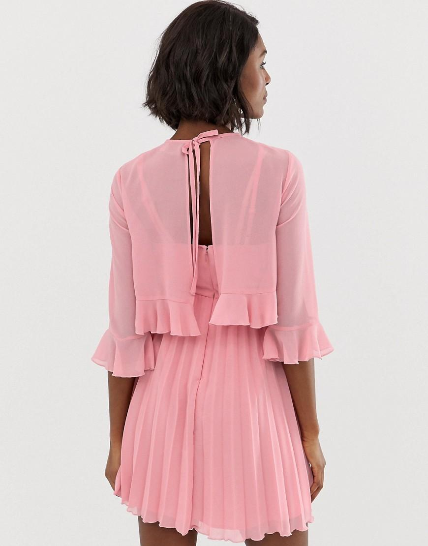 237f6616d36 Lyst - ASOS Asos Design Maternity Double Layer Pleated Mini Dress in Pink