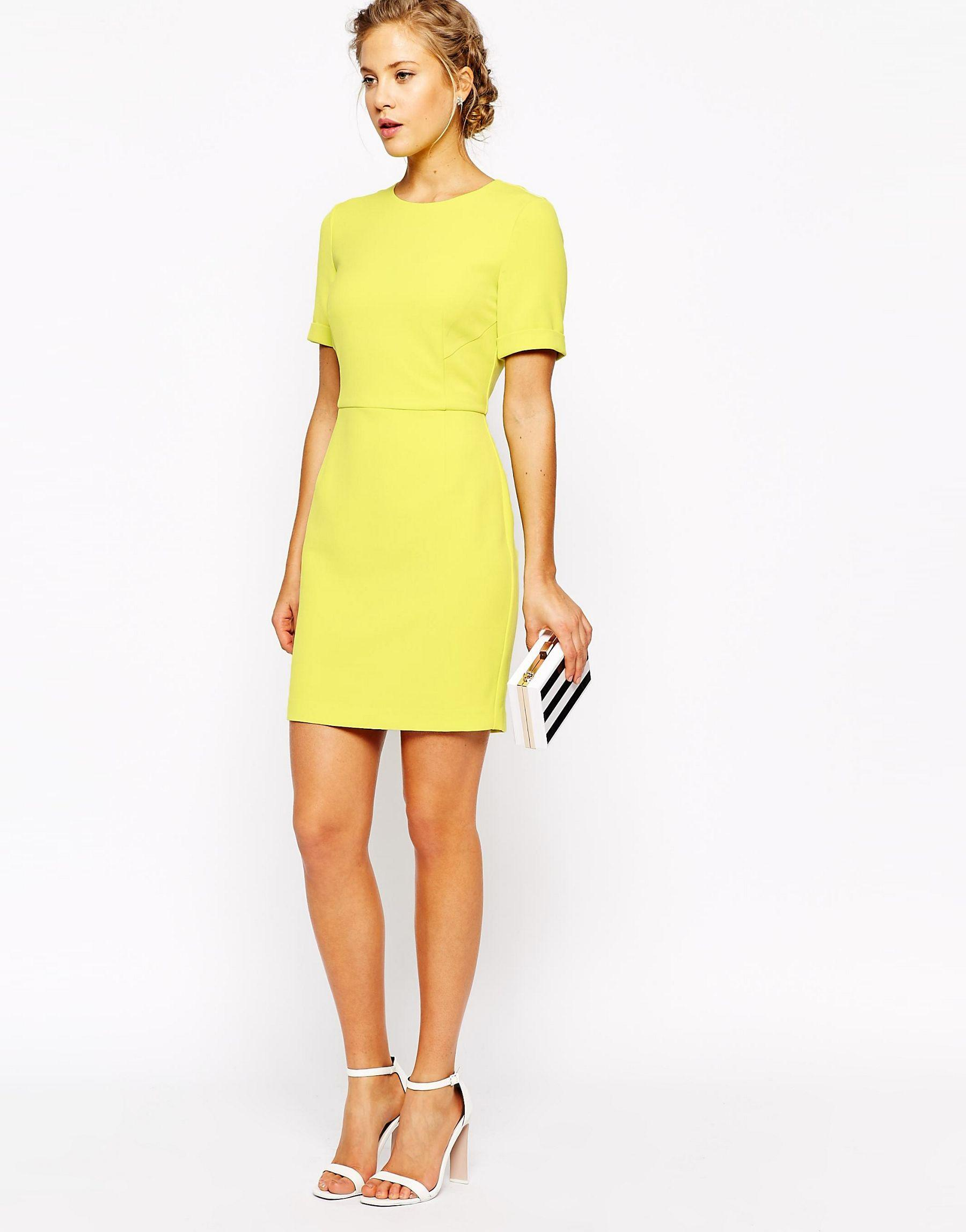 oasis asis shift dress in yellow lyst