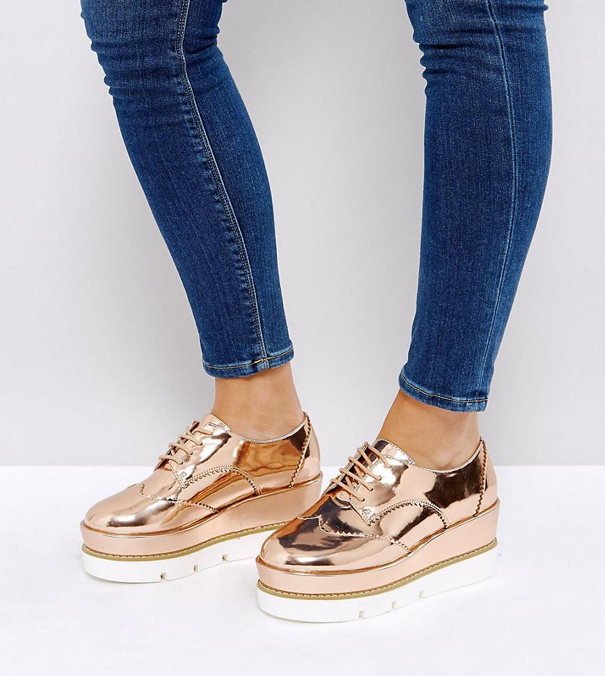 6f6bb35d7a8 ASOS Outshine Wide Fit Lace Up Flatforms in Natural - Lyst