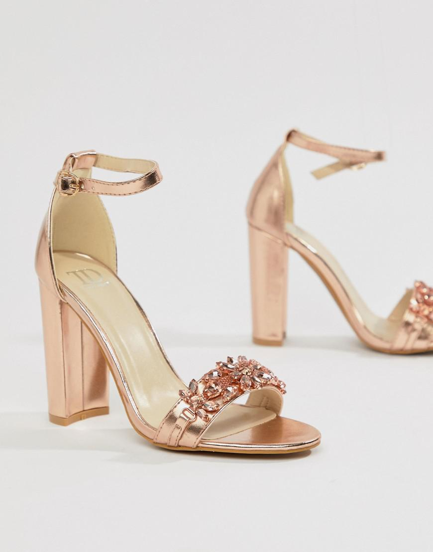 a0c79f29feb Lyst - True Decadence Rose Gold Embellished Block Heeled Sandals in ...