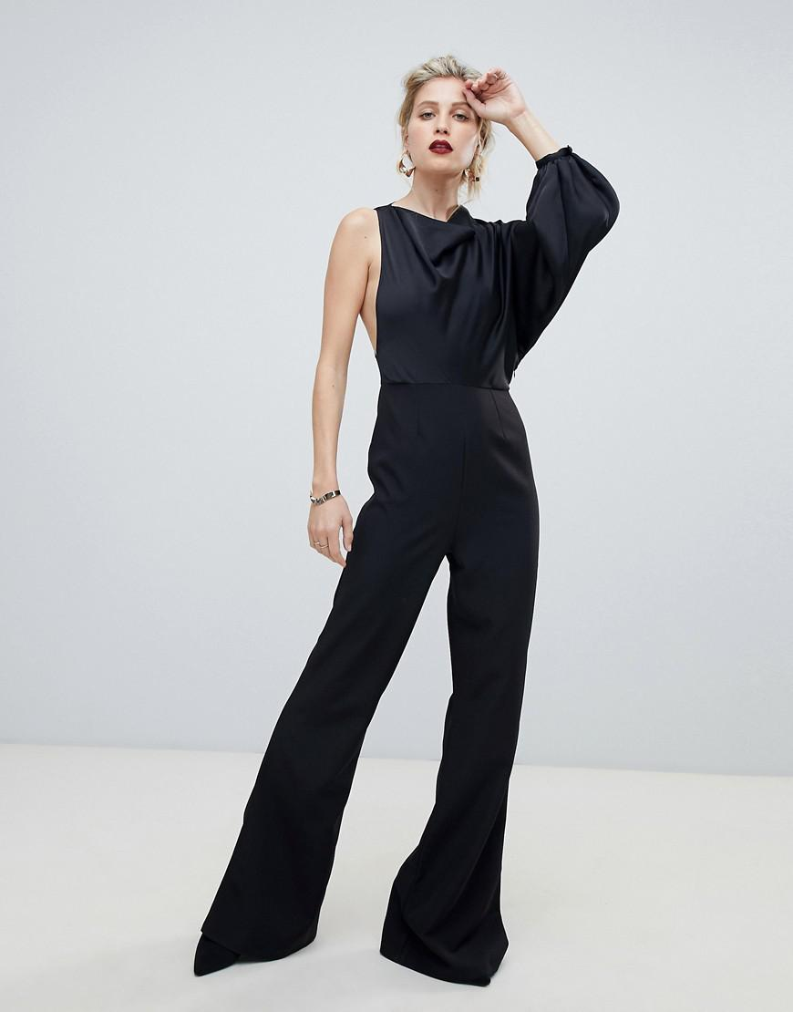 8ae2ece3abe Lyst - ASOS One Shoulder Cowl Neck Satin Top Jumpsuit in Black