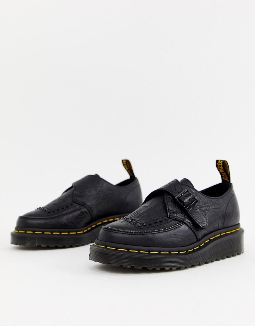 95f369ccf1ae Dr. Martens. Women s Ramsey Ii Black Embossed Leather Strap Chunky Flatform  Shoes
