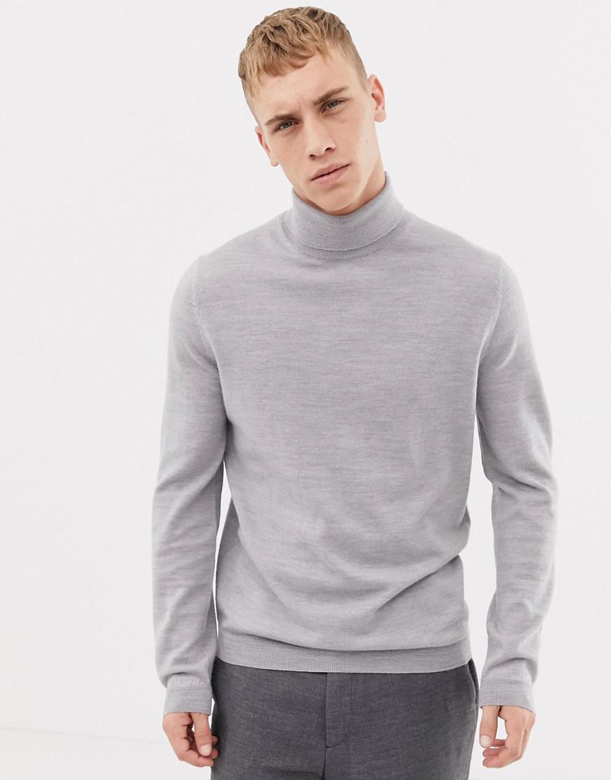 1ea5068243f5 Lyst - ASOS Merino Wool Roll Neck Jumper In Pale Grey in Gray for Men