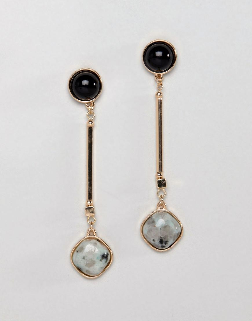 DESIGN Trapped Resin And Stick Drop Earrings - Silver Asos J1bMx
