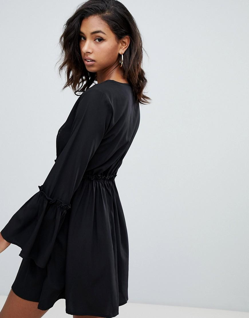 Lyst - Boohoo Exclusive Lace Insert Smock Dress In Black in Black cc9287eac