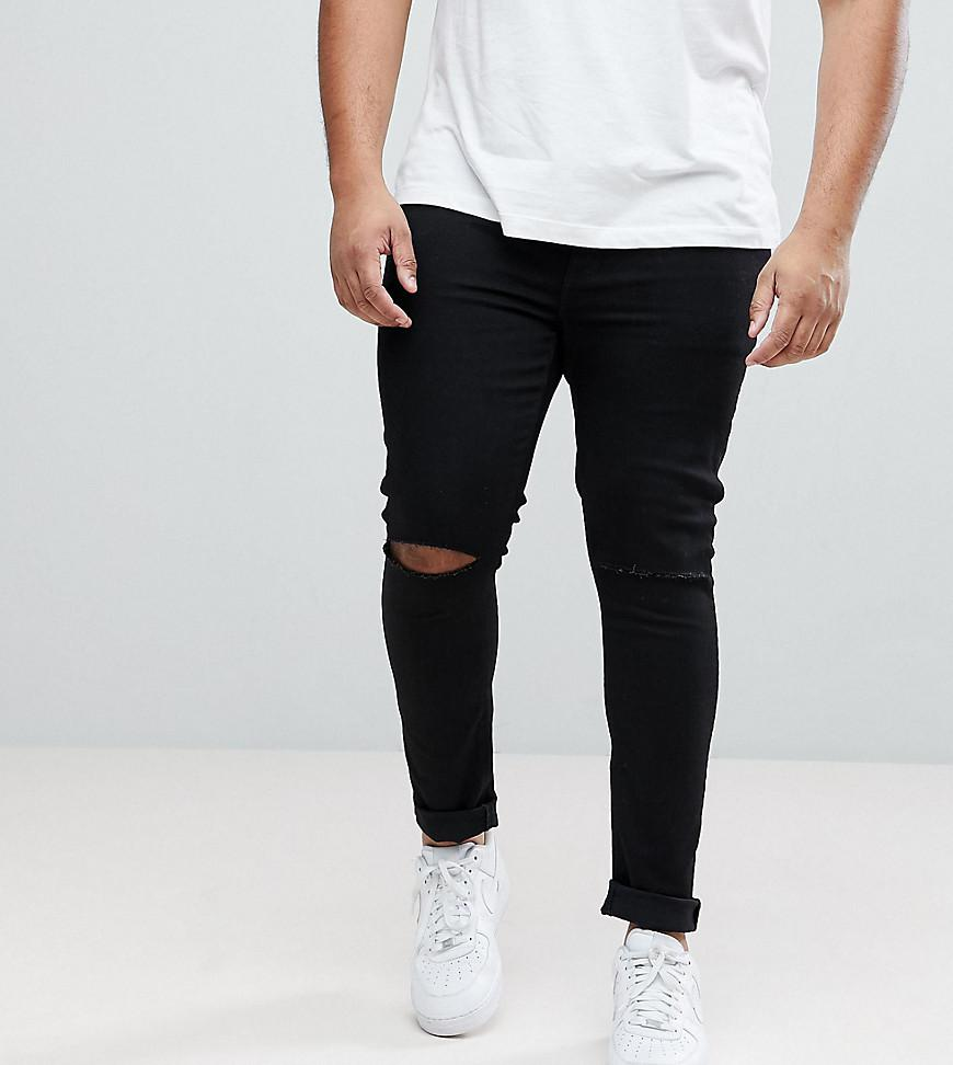 ASOS. Men's Plus Extreme Super Skinny Jeans With Knee Rips ...